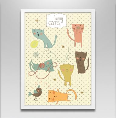 Котята  - Постер в белой раме, улыбка