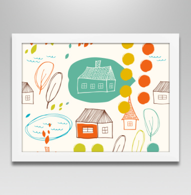 Осенний микс - Постер в белой раме, осень