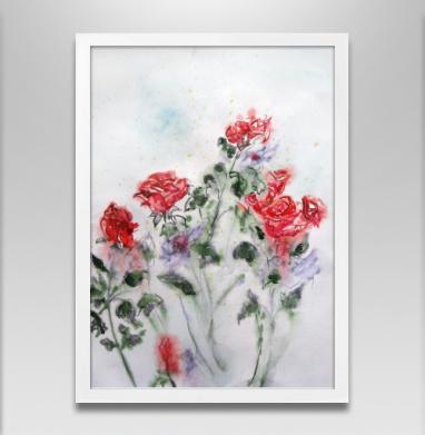 Розы после дождя - Постер в белой раме, розы