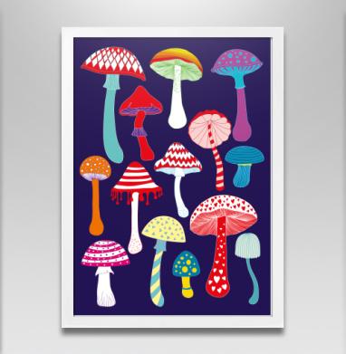 машрумс - Постер в белой раме, грибы