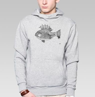 Панк рыба, Толстовка мужская, накладной карман серый меланж