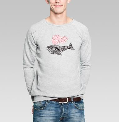 Сигналы Кита - Купить мужские свитшоты с рыбой в Москве, цена мужских свитшотов с рыбой  с прикольными принтами - магазин дизайнерской одежды MaryJane