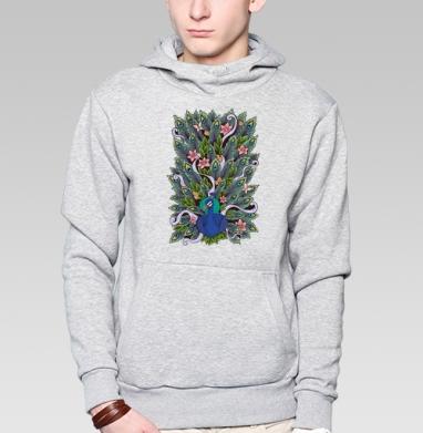 Павлиний хвост - Толстовка серая с капюшоном, цвет