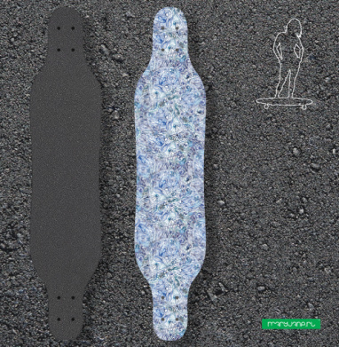 Голубой дудл - Наклейки на лонгборд