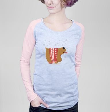 Футболка женская с длинным рукавом, серый меланж/розовый - Футболки на заказ, майки на заказ