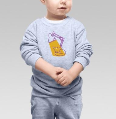 Cвитшот Детский серый меланж - Мурча греется