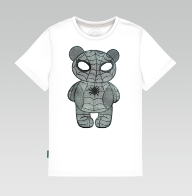 Детская футболка белая 160гр - медведь паук