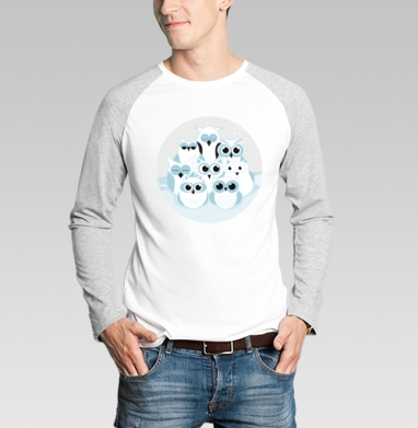 Футболка мужская с длинным рукавом бело-серая - Зимние совы