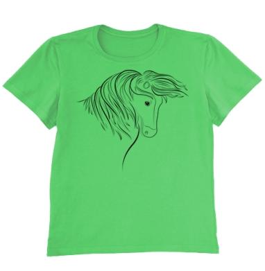 Футболка мужская ярко-зеленая - Дикая лошадь