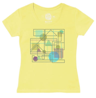 Футболка женская желтая - Геометрическая абстракция