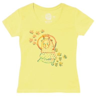Футболка женская желтая - осенний олень