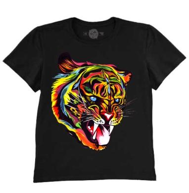 Футболка мужская чёрная 200гр - тигр