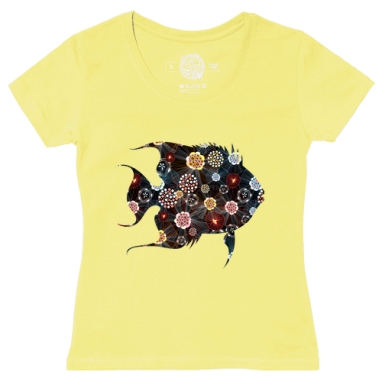 Футболка женская желтая - Орнаментальная рыба