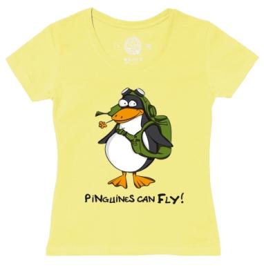 Футболка женская желтая - Пингвины летают?!