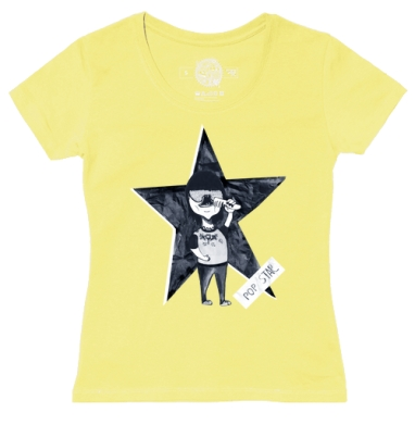 Футболка женская желтая - POP STAR