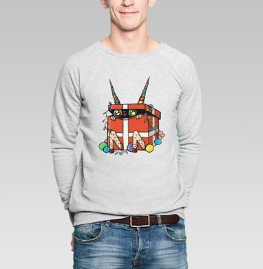 Коробкозёл - Купить мужские свитшоты Новый год в Москве, цена мужских свитшотов новогодних  с прикольными принтами - магазин дизайнерской одежды MaryJane