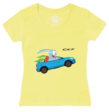 Футболка женская желтая - Mazda CX-7 and Crazy Bunny