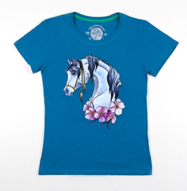 Футболка женская бирюзовая - Нарисованная лошадь)