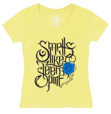 Футболка женская желтая - Smells like teen spirit