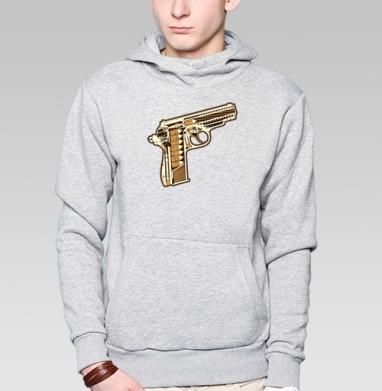 Gun, Толстовка мужская, накладной карман серый меланж