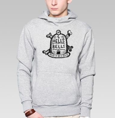 Толстовка мужская, накладной карман серый меланж - Hells bells