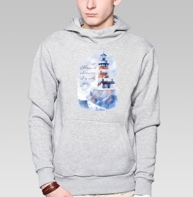 Маяк, Толстовка мужская, накладной карман серый меланж