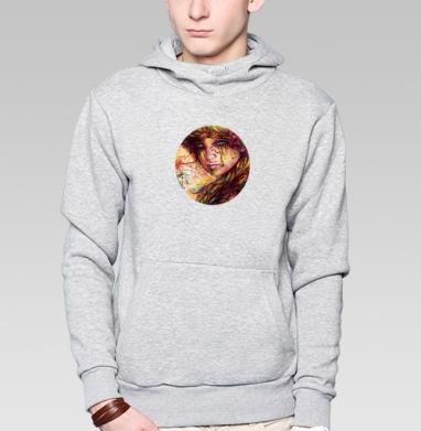 Русская коса - Толстовка серая с капюшоном, цвет