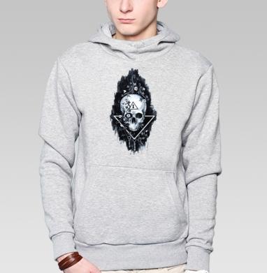 Толстовка мужская, накладной карман серый меланж - Тайна черепа