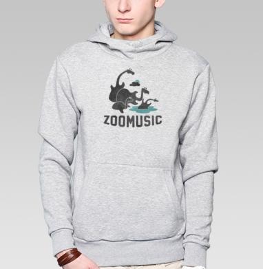 Толстовка мужская, накладной карман серый меланж - ZOOMUSIC