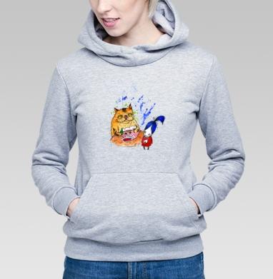 Анфиса и кошка 2 - Толстовка Женская серый меланж 340гр, теплый, Магазин футболок anfisa, Новинки