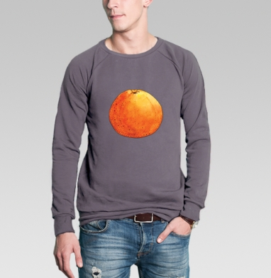 Свитшот мужской без капюшона тёмно-серый - Апельсин