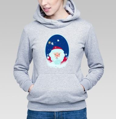 Толстовка Женская серый меланж 340гр, теплая - Дед Мороз. Задумчивый.