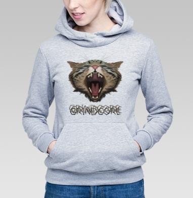 Толстовка Женская серый меланж 340гр, теплый - Grindcore Cat