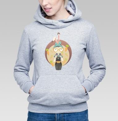 Hipster Bunny - Толстовка Женская серый меланж 340гр, теплая, Купить толстовки победителей