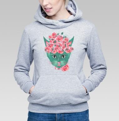 Кошка с кустом роз и стайкой стрекоз - Купить детские толстовки с роами в Москве, цена детских толстовок с розой с прикольными принтами - магазин дизайнерской одежды MaryJane