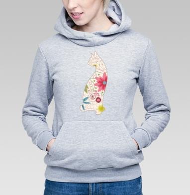 Кошка в винтажных цветах - Купить детские толстовки ретро в Москве, цена детских толстовок ретро  с прикольными принтами - магазин дизайнерской одежды MaryJane