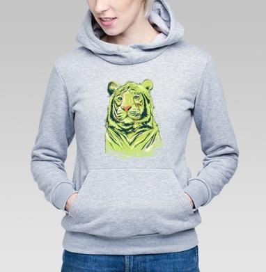 Тигры, Толстовка Женская серый меланж 340гр, теплая