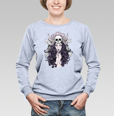 Готическая женщина - Cвитшот женский, серый-меланж  320гр, стандарт, психоделика, Популярные