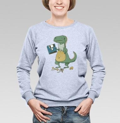 Dino, Cвитшот женский, толстовка без капюшона  серый меланж