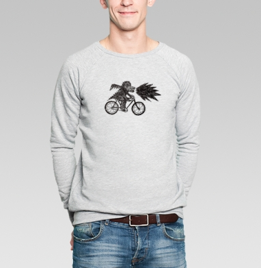 Дракон на велосипеде  - Купить мужские свитшоты с велосипедом в Москве, цена мужских свитшотов с велосипедом с прикольными принтами - магазин дизайнерской одежды MaryJane