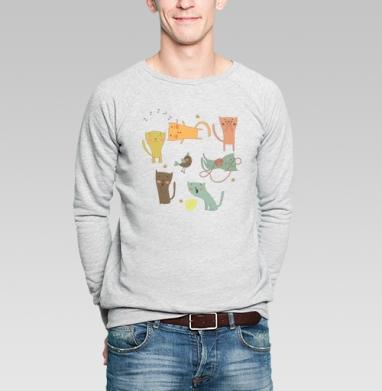 Котята  - Купить мужские свитшоты с кошками в Москве, цена мужских  с кошками  с прикольными принтами - магазин дизайнерской одежды MaryJane