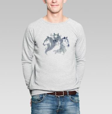 Лошади - Купить мужские свитшоты красивые в Москве, цена мужских свитшотов красивых  с прикольными принтами - магазин дизайнерской одежды MaryJane