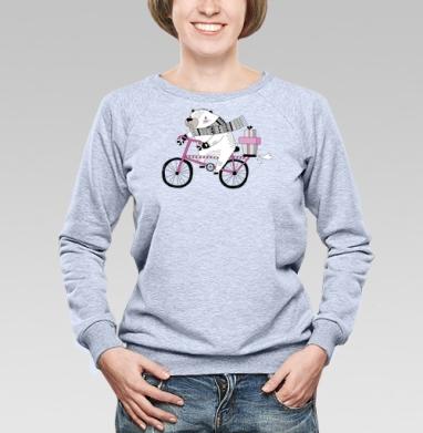 Мишка на велике - Купить детские свитшоты с персонажами в Москве, цена детских свитшотов с персонажами  с прикольными принтами - магазин дизайнерской одежды MaryJane