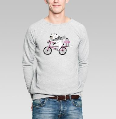 Мишка на велике - Купить мужские свитшоты с велосипедом в Москве, цена мужских  с велосипедом  с прикольными принтами - магазин дизайнерской одежды MaryJane