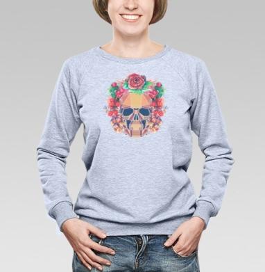 Polygonal human skull and watercolor wreath.Los muertos.  - Cвитшот женский, серый-меланж  320гр, стандарт, психоделика, Популярные