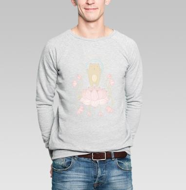 Просветление котика - Купить мужские свитшоты с йогой в Москве, цена мужских свитшотов с йогой  с прикольными принтами - магазин дизайнерской одежды MaryJane