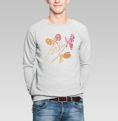 Все в твоих руках - Купить мужские свитшоты с бабочками в Москве, цена мужских свитшотов с бабочкой с прикольными принтами - магазин дизайнерской одежды MaryJane