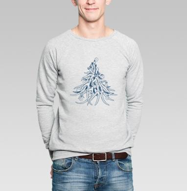 Свитшот мужской серый-меланж  320гр, стандарт - Jingle Bells