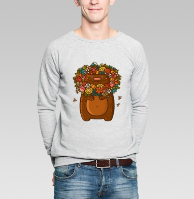 Медведь в цветах - Купить мужские свитшоты для влюбленных в Москве, цена мужских  дли влюбленных  с прикольными принтами - магазин дизайнерской одежды MaryJane