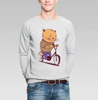 Осенний кот - Купить мужские свитшоты с велосипедом в Москве, цена мужских  с велосипедом  с прикольными принтами - магазин дизайнерской одежды MaryJane